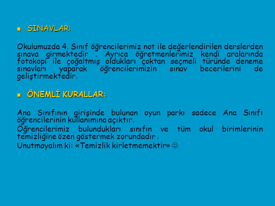 SINAVLAR: