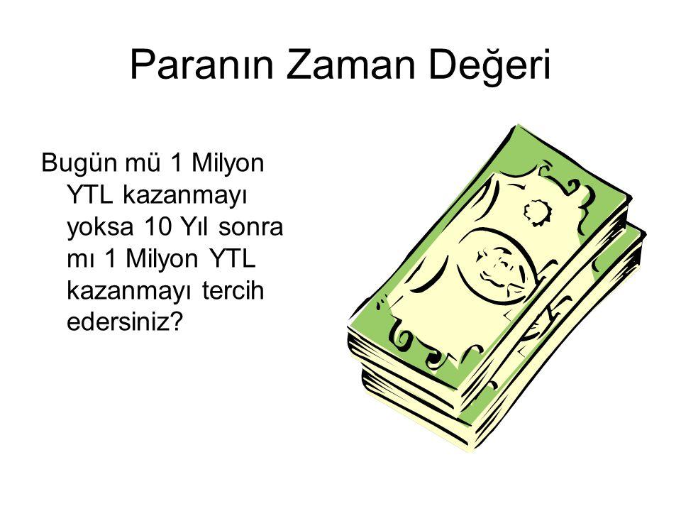Paranın Zaman Değeri Bugün mü 1 Milyon YTL kazanmayı yoksa 10 Yıl sonra mı 1 Milyon YTL kazanmayı tercih edersiniz