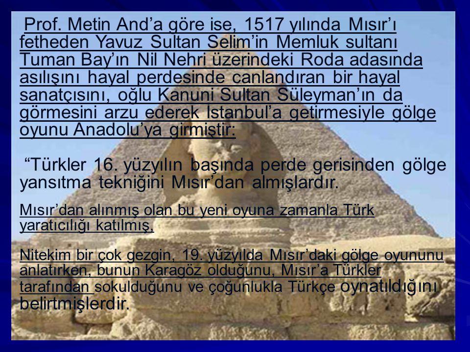 Prof. Metin And'a göre ise, 1517 yılında Mısır'ı fetheden Yavuz Sultan Selim'in Memluk sultanı Tuman Bay'ın Nil Nehri üzerindeki Roda adasında asılışını hayal perdesinde canlandıran bir hayal sanatçısını, oğlu Kanuni Sultan Süleyman'ın da görmesini arzu ederek İstanbul'a getirmesiyle gölge oyunu Anadolu'ya girmiştir: