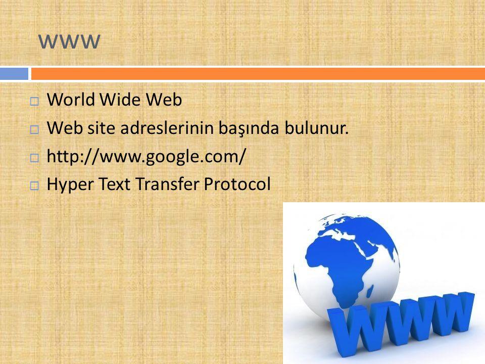 www World Wide Web Web site adreslerinin başında bulunur.