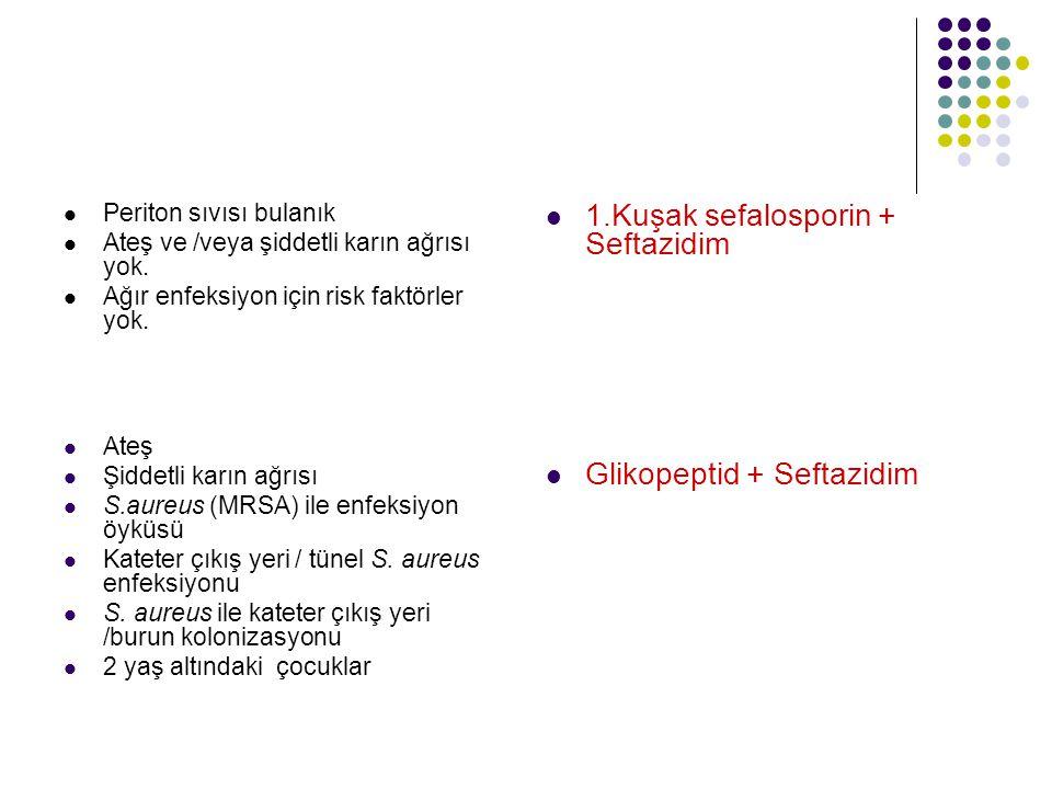 1.Kuşak sefalosporin + Seftazidim