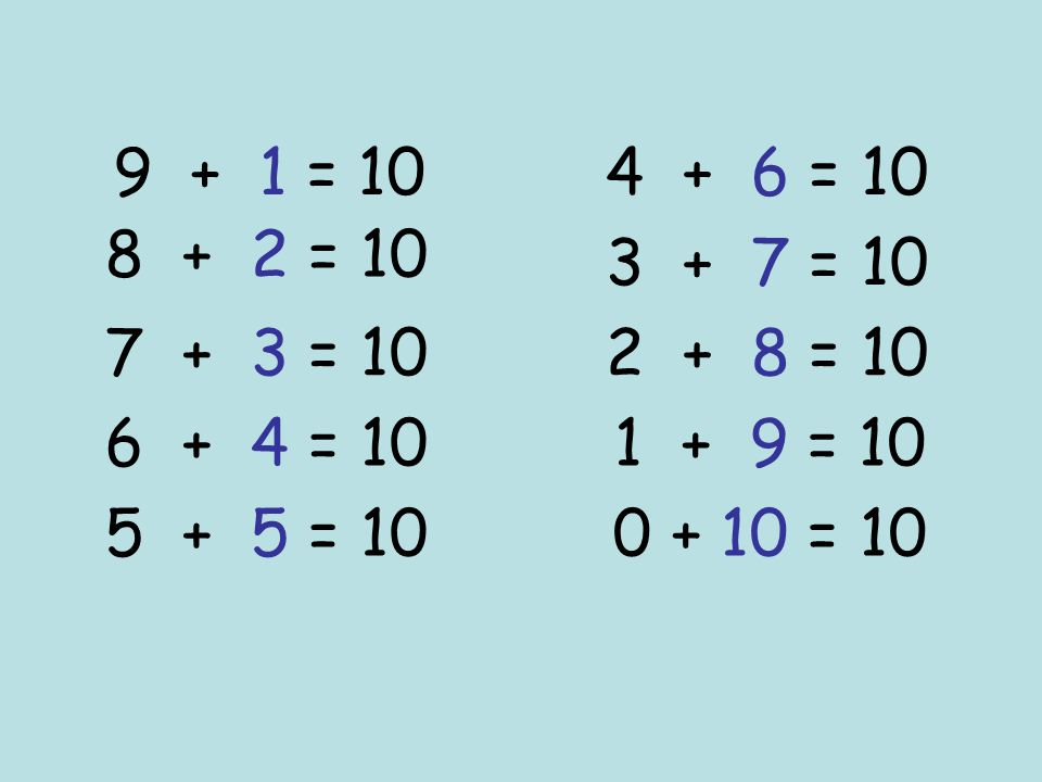9 + 1 = 10 4 + 6 = 10. 8 + 2 = 10. 3 + 7 = 10. 7 + 3 = 10. 2 + 8 = 10. 6 + 4 = 10.