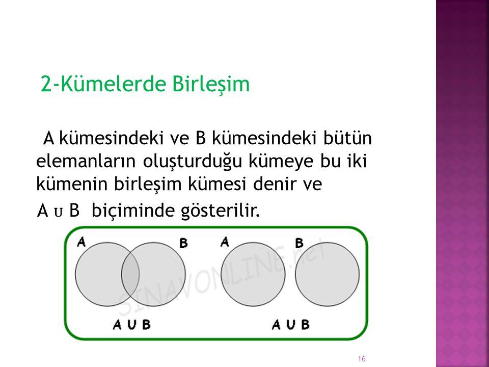 2-Kümelerde Birleşim A kümesindeki ve B kümesindeki bütün elemanların oluşturduğu kümeye bu iki kümenin birleşim kümesi denir ve.