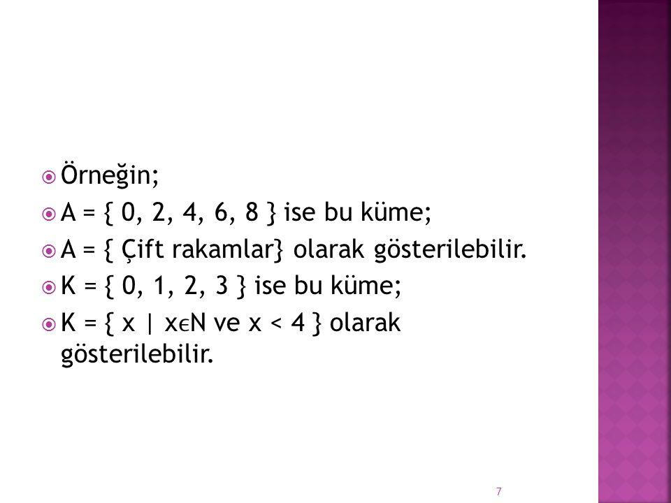 Örneğin; A = { 0, 2, 4, 6, 8 } ise bu küme; A = { Çift rakamlar} olarak gösterilebilir. K = { 0, 1, 2, 3 } ise bu küme;