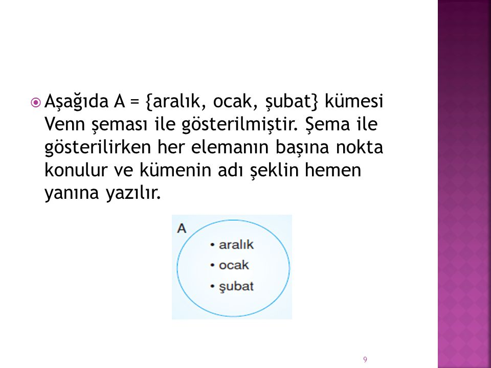 Aşağıda A = {aralık, ocak, şubat} kümesi Venn şeması ile gösterilmiştir.