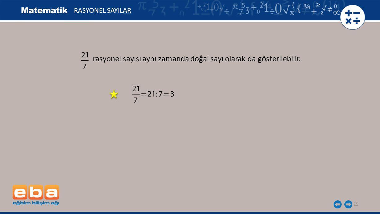 rasyonel sayısı aynı zamanda doğal sayı olarak da gösterilebilir.