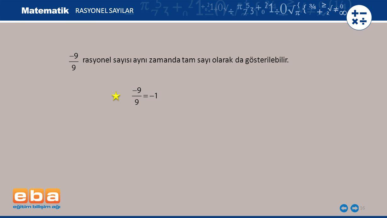 rasyonel sayısı aynı zamanda tam sayı olarak da gösterilebilir.