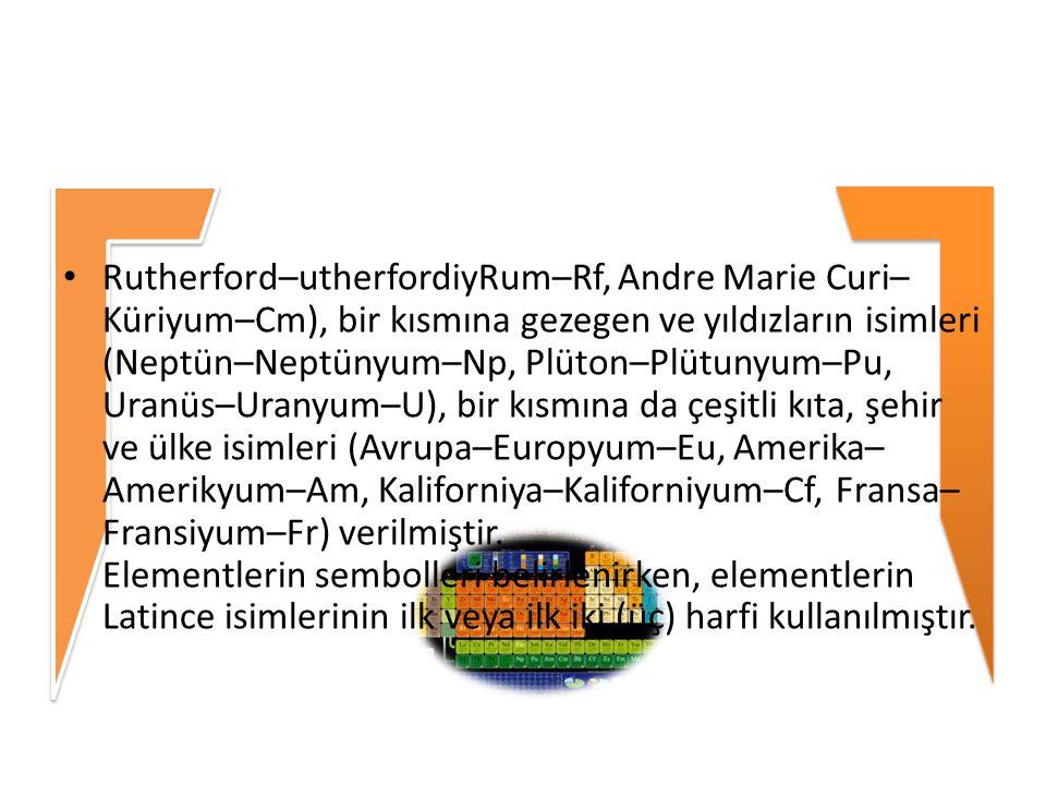 Rutherford–utherfordiyRum–Rf, Andre Marie Curi– Küriyum–Cm), bir kısmına gezegen ve yıldızların isimleri (Neptün–Neptünyum–Np, Plüton–Plütunyum–Pu, Uranüs–Uranyum–U), bir kısmına da çeşitli kıta, şehir ve ülke isimleri (Avrupa–Europyum–Eu, Amerika–Amerikyum–Am, Kaliforniya–Kaliforniyum–Cf, Fransa– Fransiyum–Fr) verilmiştir.
