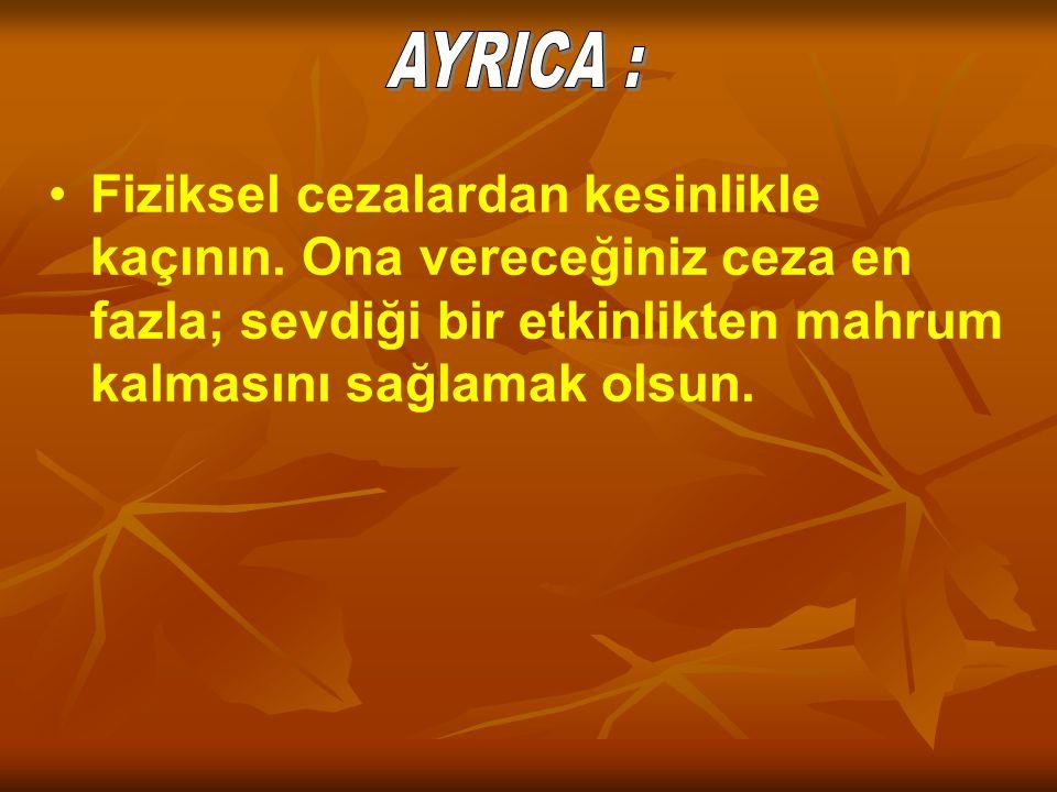 AYRICA : Fiziksel cezalardan kesinlikle kaçının.