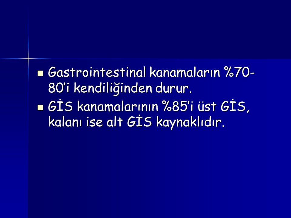 Gastrointestinal kanamaların %70-80'i kendiliğinden durur.