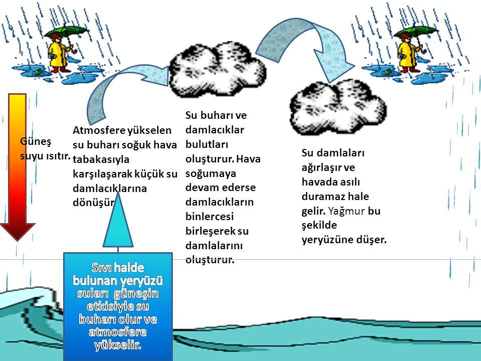 Su buharı ve damlacıklar bulutları oluşturur