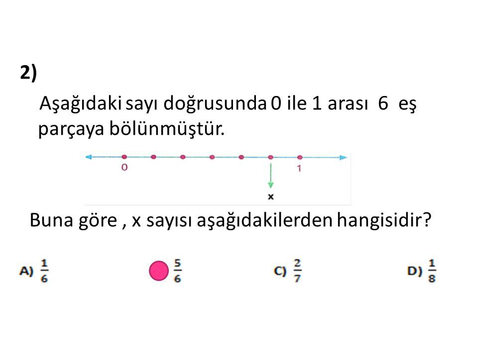2) Aşağıdaki sayı doğrusunda 0 ile 1 arası 6 eş parçaya bölünmüştür