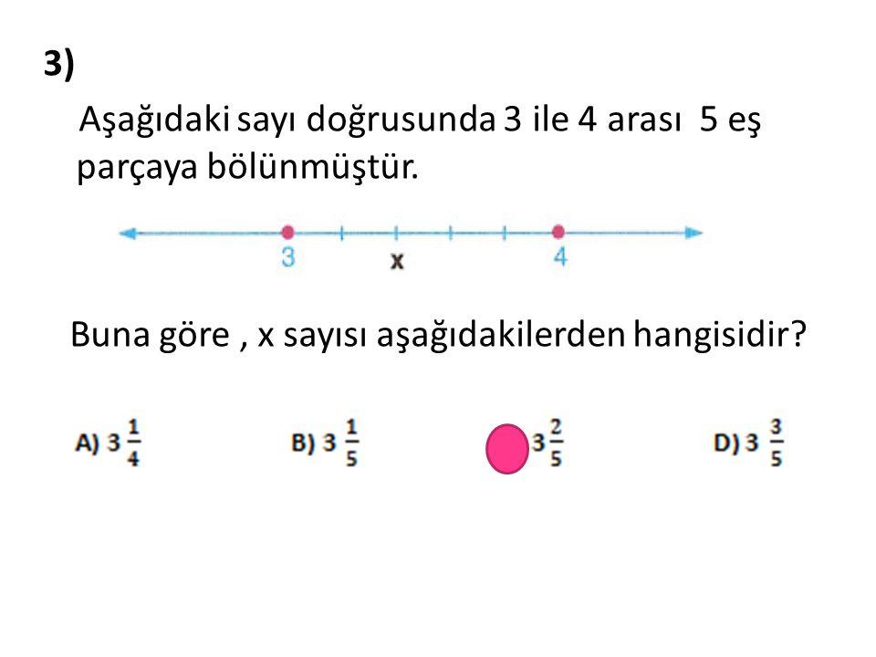 3) Aşağıdaki sayı doğrusunda 3 ile 4 arası 5 eş parçaya bölünmüştür