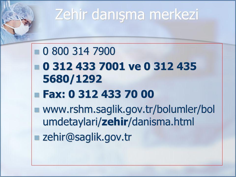 Zehir danışma merkezi 0 800 314 7900. 0 312 433 7001 ve 0 312 435 5680/1292. Fax: 0 312 433 70 00.