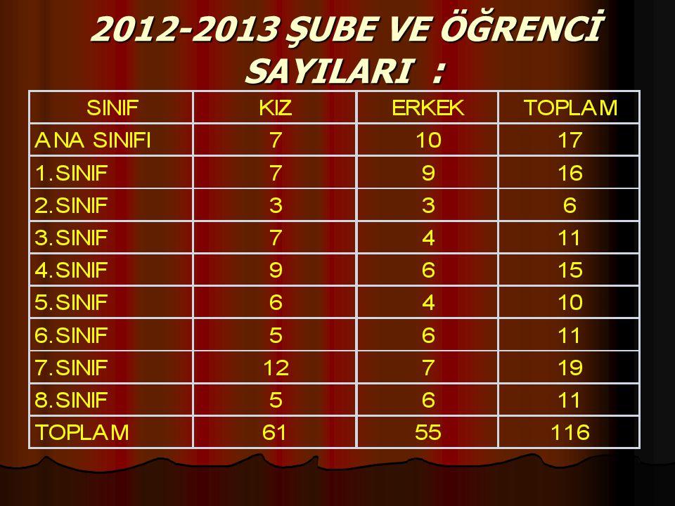 2012-2013 ŞUBE VE ÖĞRENCİ SAYILARI :