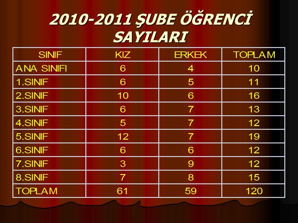 2010-2011 ŞUBE ÖĞRENCİ SAYILARI