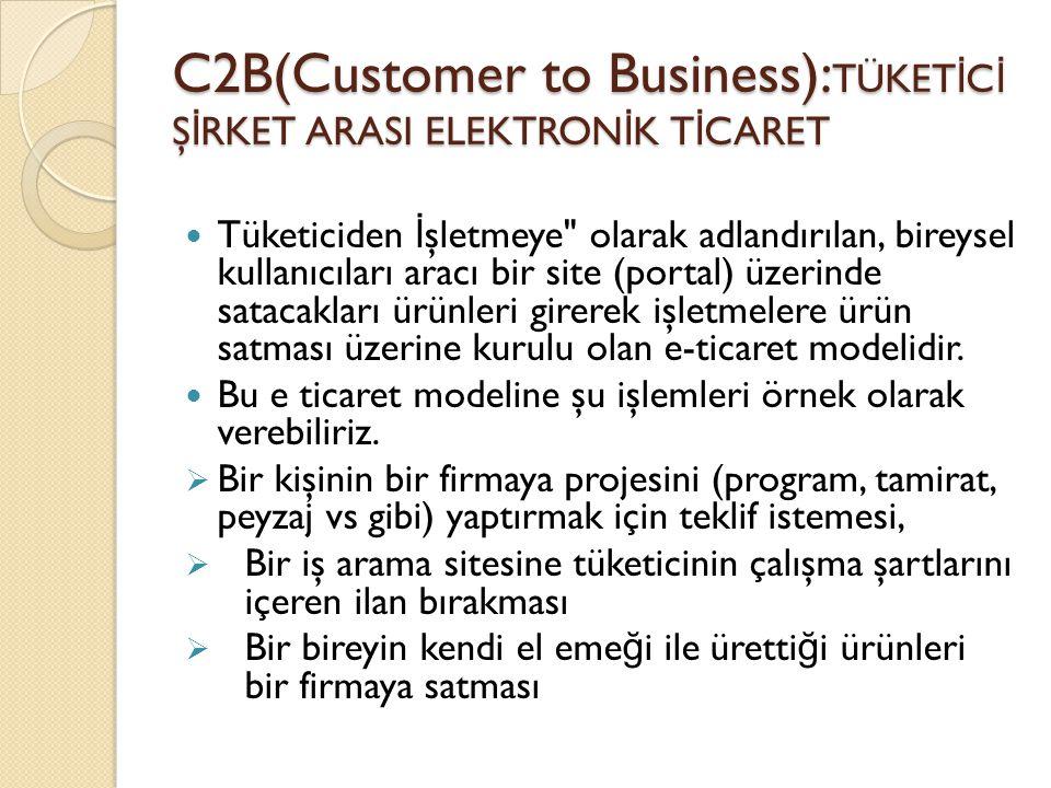 C2B(Customer to Business):TÜKETİCİ ŞİRKET ARASI ELEKTRONİK TİCARET