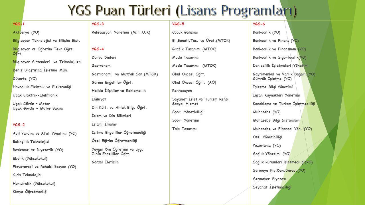 YGS Puan Türleri (Lisans Programları)