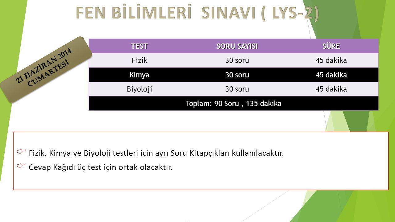 FEN BİLİMLERİ SINAVI ( LYS-2)