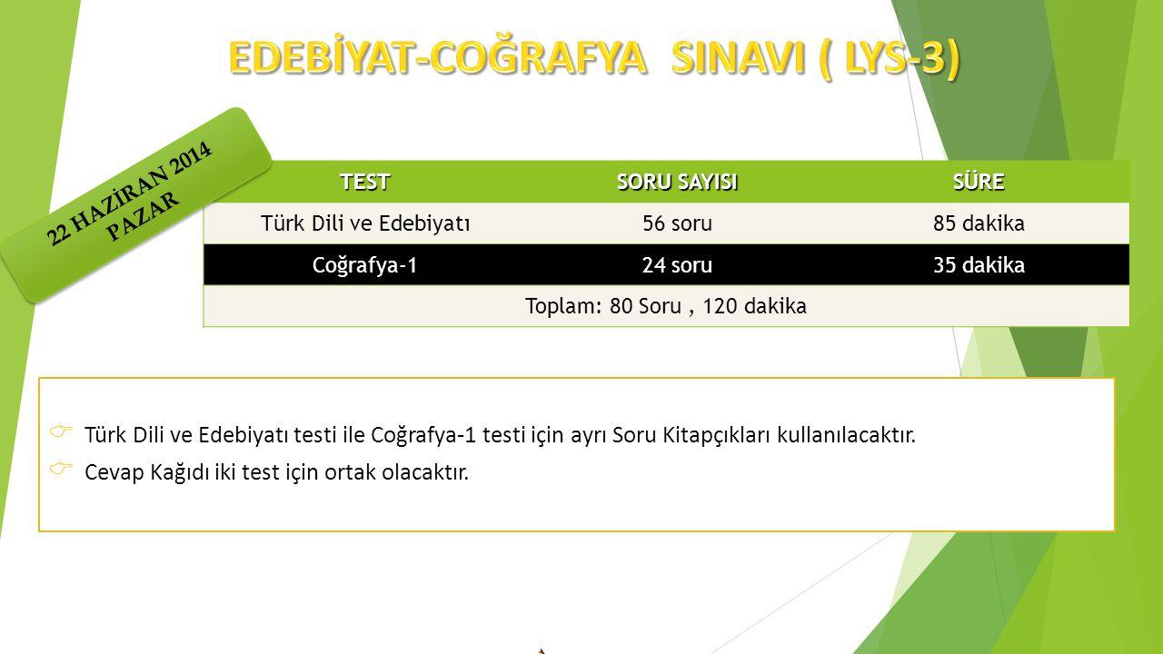 EDEBİYAT-COĞRAFYA SINAVI ( LYS-3)