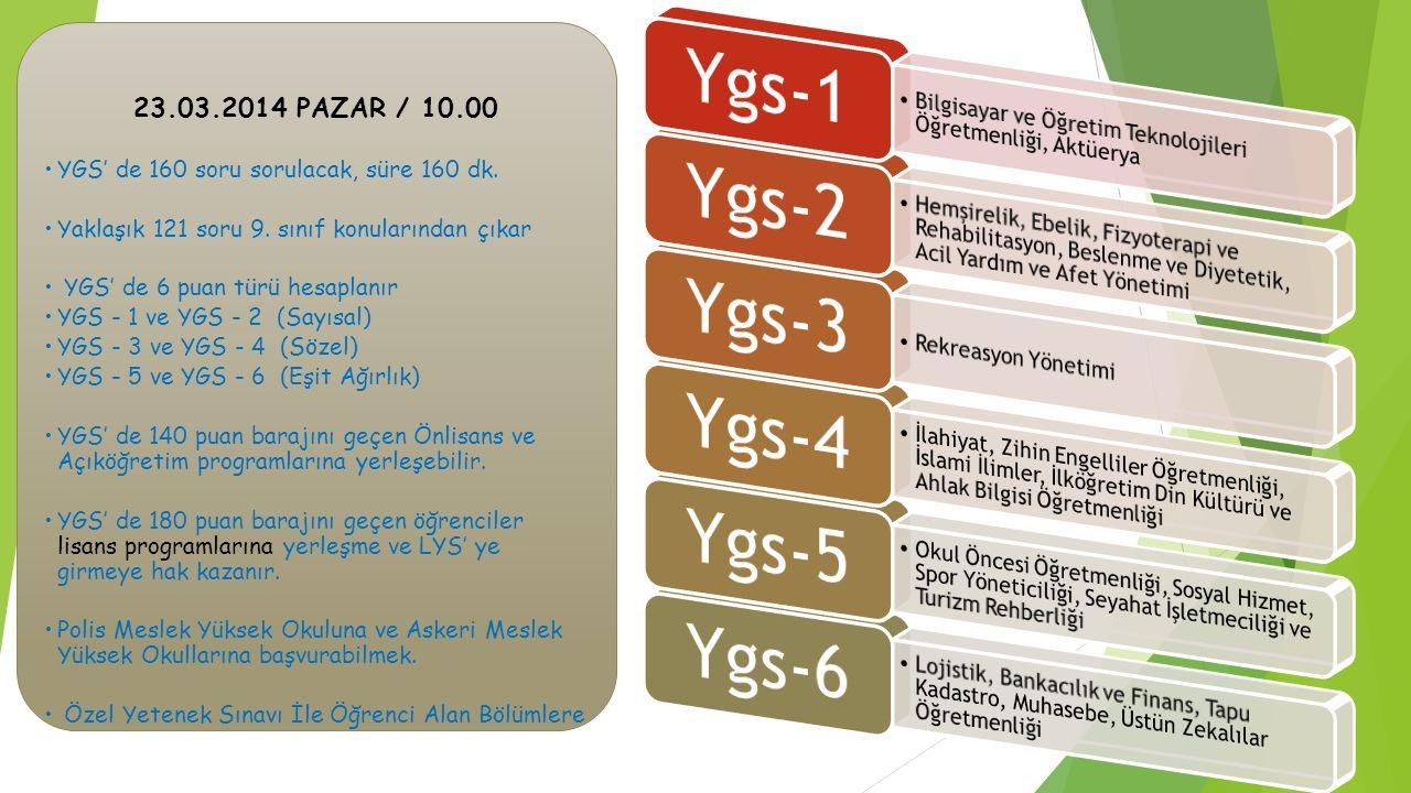 23.03.2014 PAZAR / 10.00 YGS' de 160 soru sorulacak, süre 160 dk.