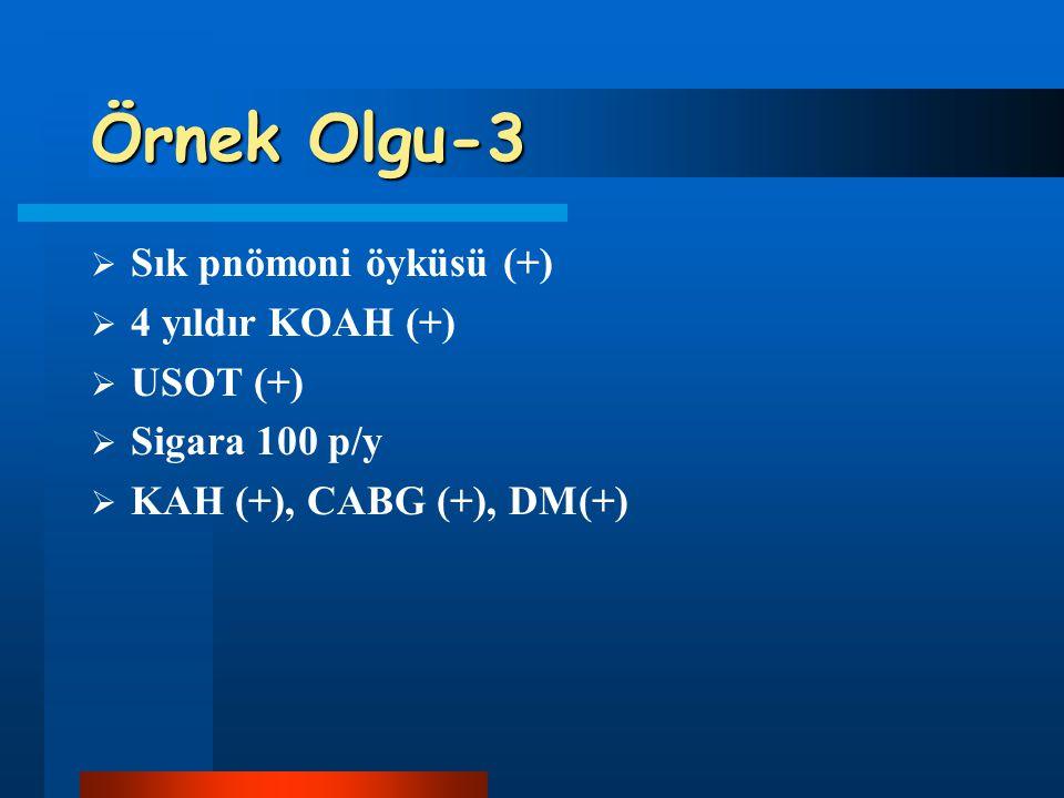 Örnek Olgu-3 Sık pnömoni öyküsü (+) 4 yıldır KOAH (+) USOT (+)