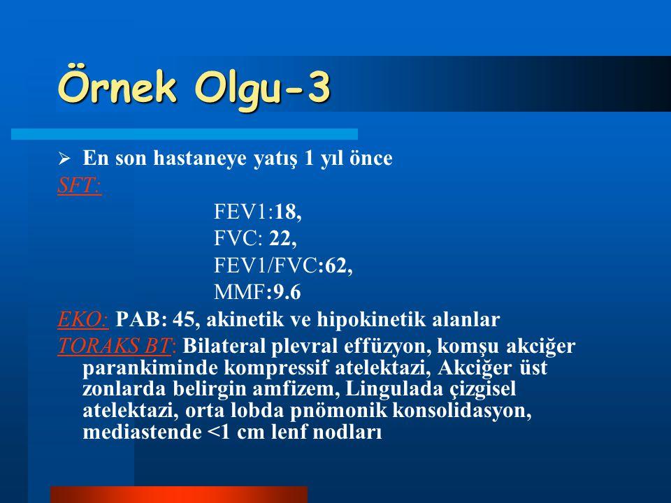Örnek Olgu-3 En son hastaneye yatış 1 yıl önce SFT: FEV1:18, FVC: 22,
