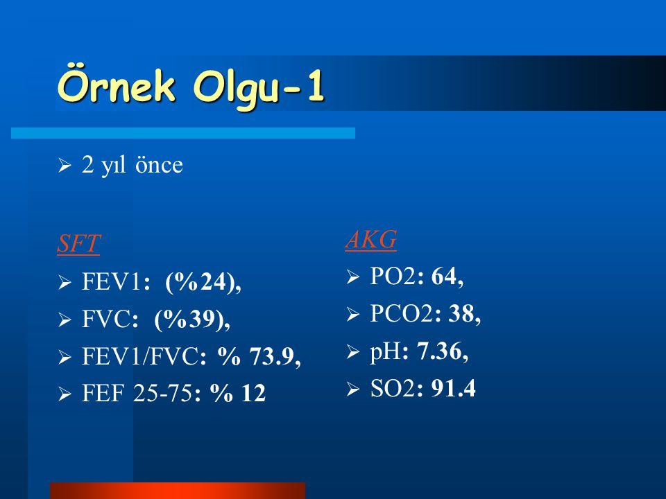 Örnek Olgu-1 2 yıl önce SFT FEV1: (%24), FVC: (%39), FEV1/FVC: % 73.9,
