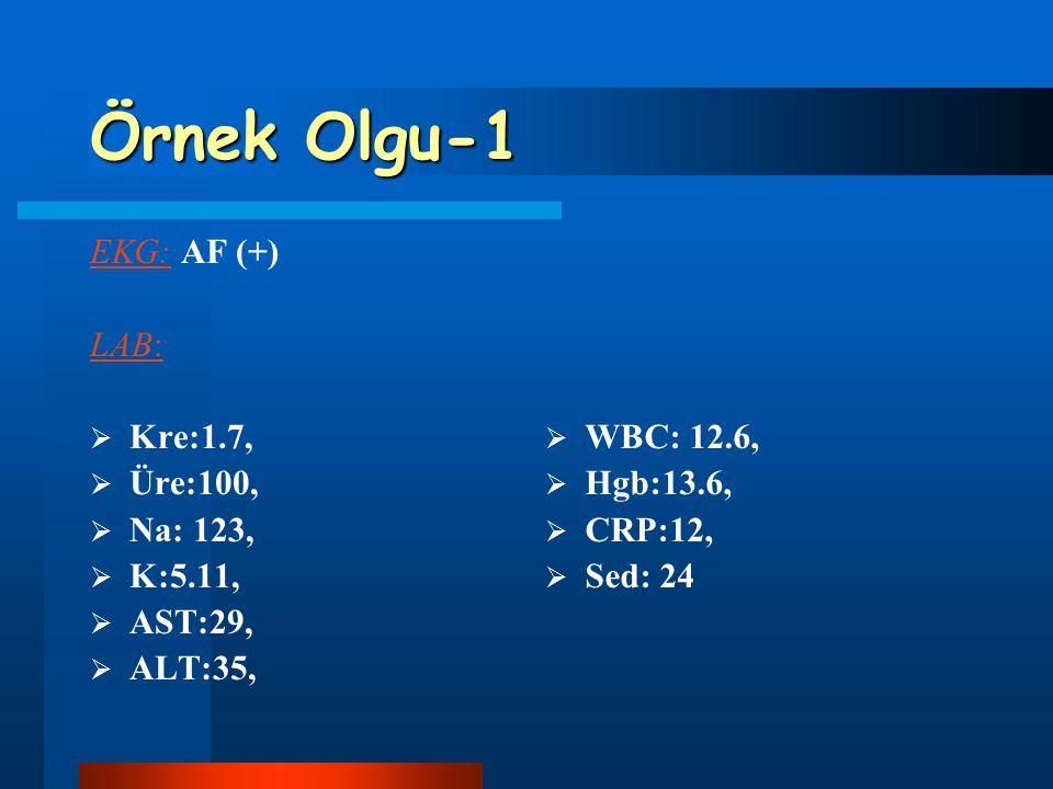 Örnek Olgu-1 EKG: AF (+) LAB: Kre:1.7, Üre:100, Na: 123, K:5.11,