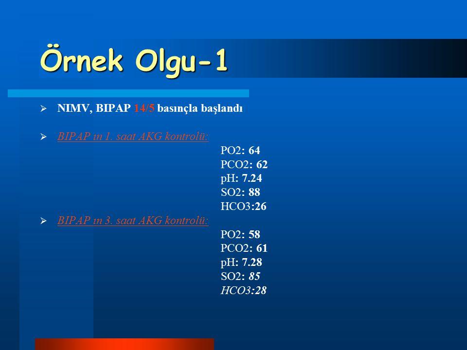 Örnek Olgu-1 NIMV, BIPAP 14/5 basınçla başlandı