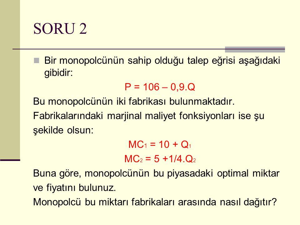 SORU 2 Bir monopolcünün sahip olduğu talep eğrisi aşağıdaki gibidir: