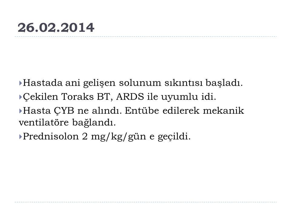 26.02.2014 Hastada ani gelişen solunum sıkıntısı başladı.