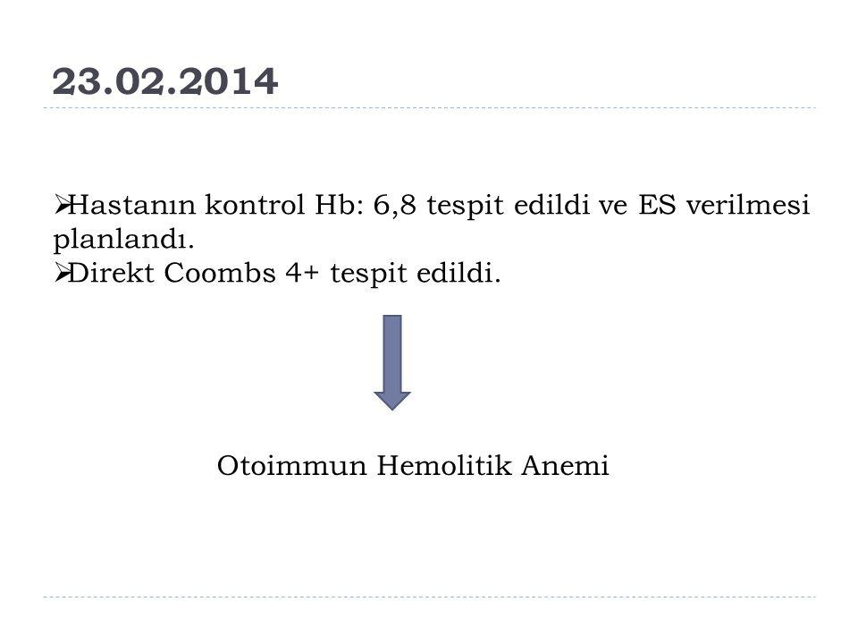 23.02.2014 Hastanın kontrol Hb: 6,8 tespit edildi ve ES verilmesi planlandı. Direkt Coombs 4+ tespit edildi.
