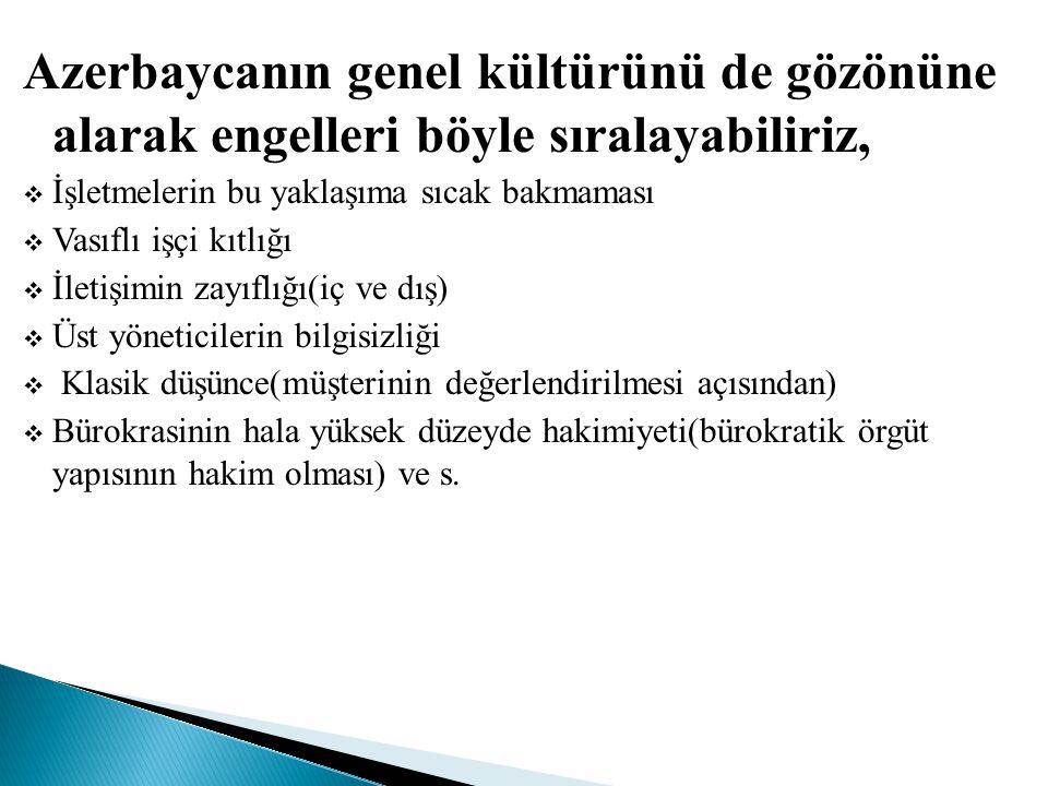 Azerbaycanın genel kültürünü de gözönüne alarak engelleri böyle sıralayabiliriz,