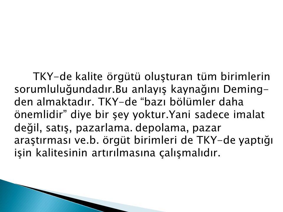 TKY-de kalite örgütü oluşturan tüm birimlerin sorumluluğundadır