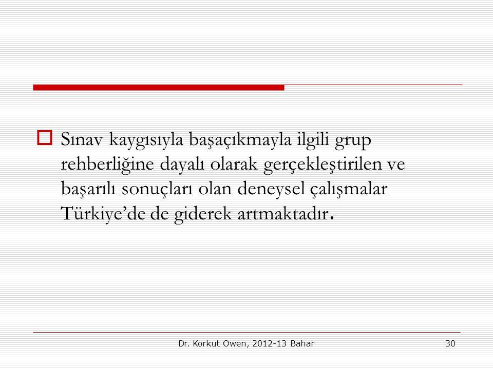 Sınav kaygısıyla başaçıkmayla ilgili grup rehberliğine dayalı olarak gerçekleştirilen ve başarılı sonuçları olan deneysel çalışmalar Türkiye'de de giderek artmaktadır.