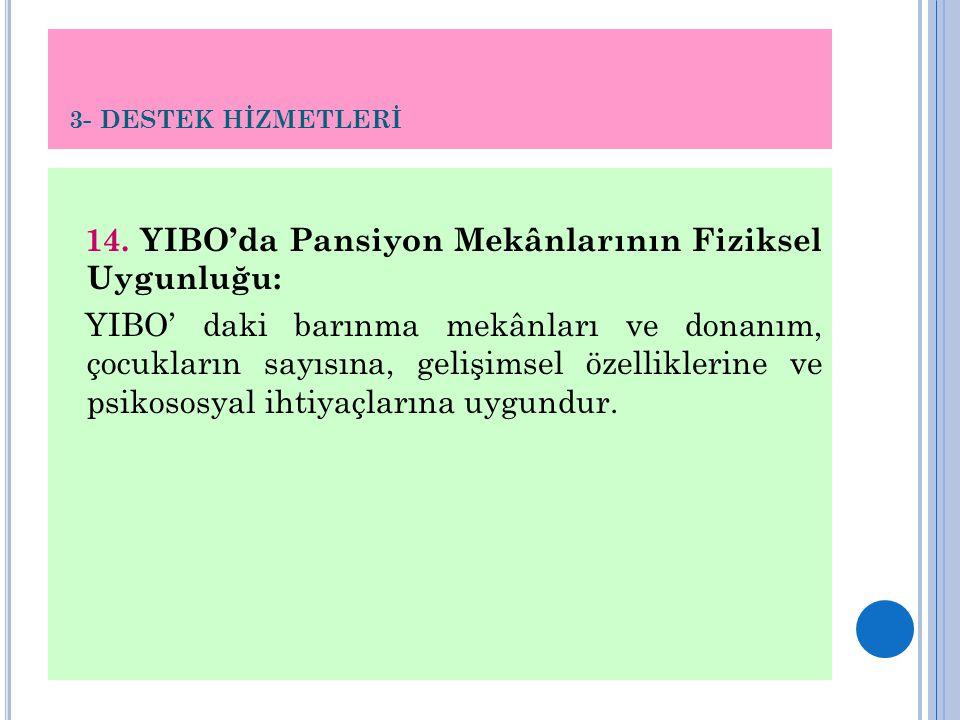 3- DESTEK HİZMETLERİ 14. YIBO'da Pansiyon Mekânlarının Fiziksel Uygunluğu: