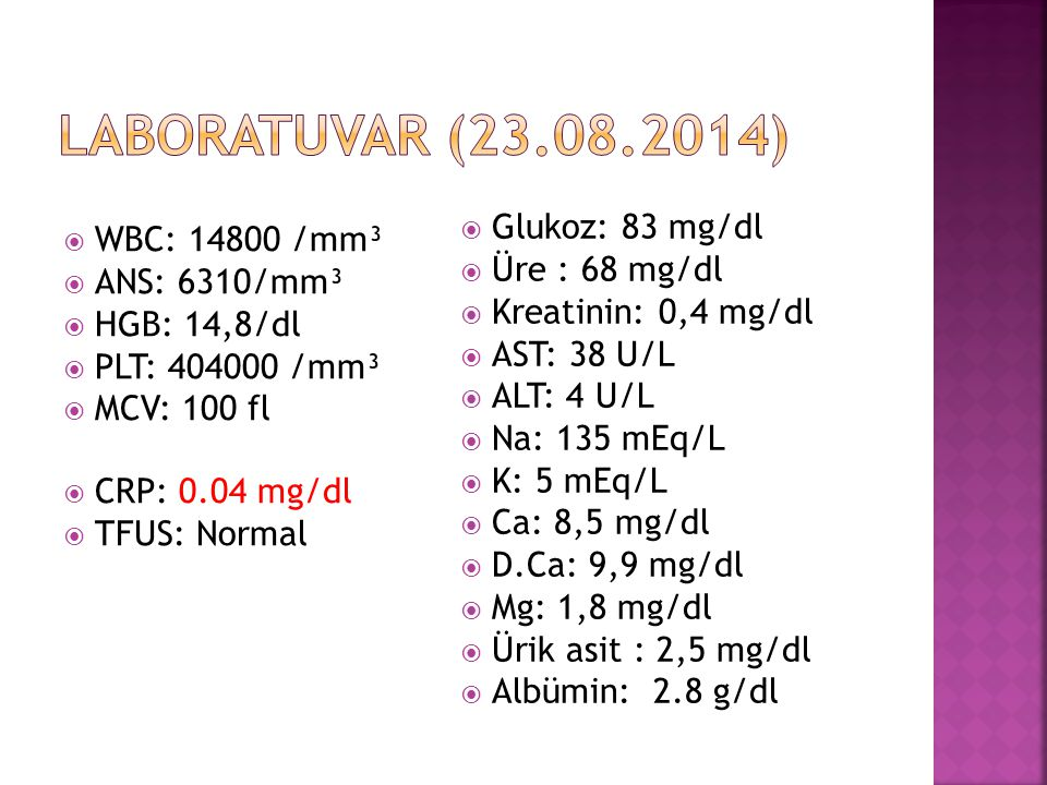Laboratuvar (23.08.2014) Glukoz: 83 mg/dl WBC: 14800 /mm³