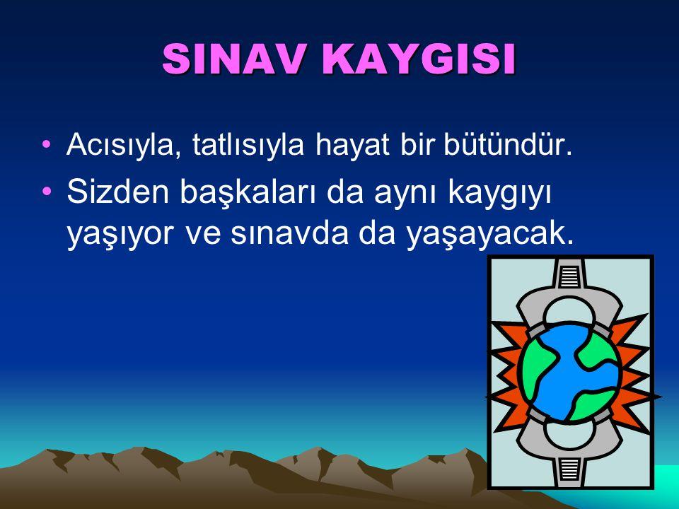 SINAV KAYGISI Acısıyla, tatlısıyla hayat bir bütündür.