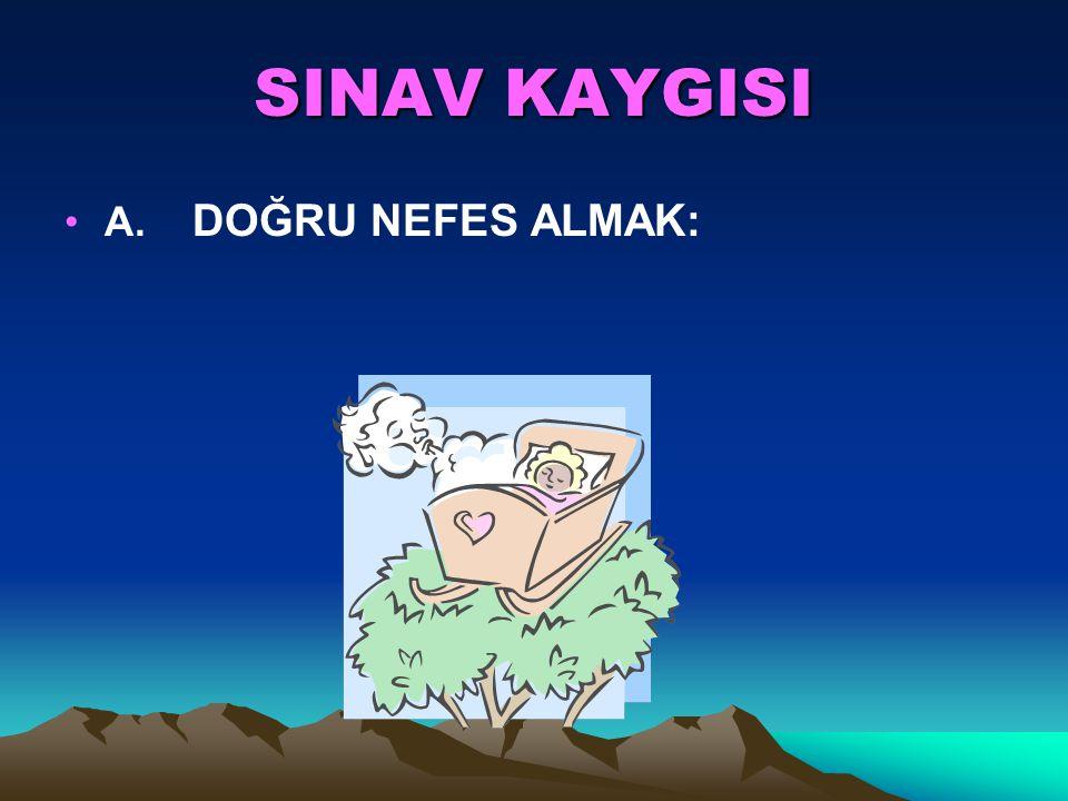 SINAV KAYGISI A. DOĞRU NEFES ALMAK: