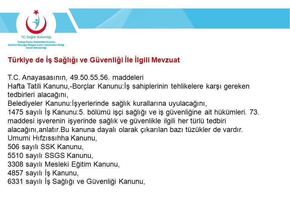 Türkiye de İş Sağlığı ve Güvenliği İle İlgili Mevzuat