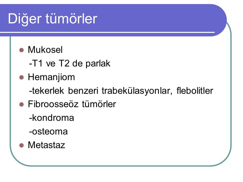 Diğer tümörler Mukosel -T1 ve T2 de parlak Hemanjiom