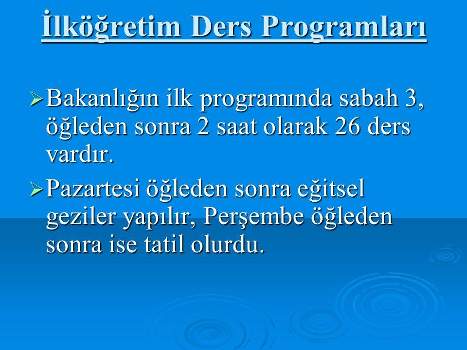 İlköğretim Ders Programları