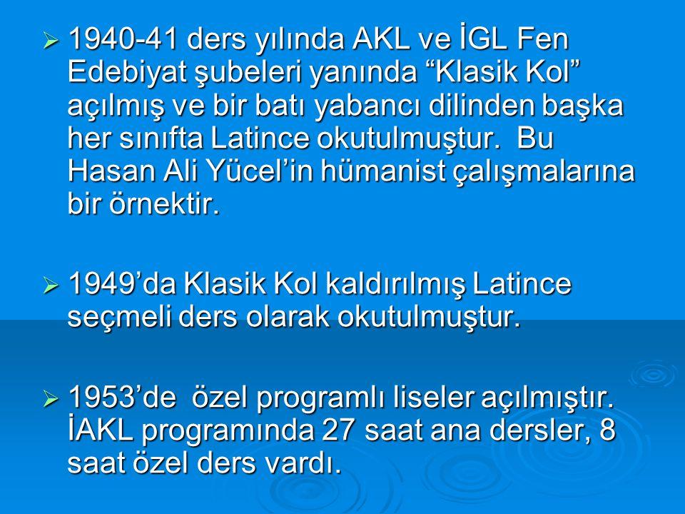 1940-41 ders yılında AKL ve İGL Fen Edebiyat şubeleri yanında Klasik Kol açılmış ve bir batı yabancı dilinden başka her sınıfta Latince okutulmuştur. Bu Hasan Ali Yücel'in hümanist çalışmalarına bir örnektir.