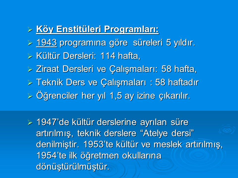 Köy Enstitüleri Programları:
