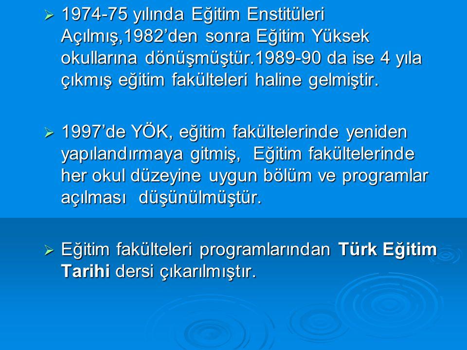 1974-75 yılında Eğitim Enstitüleri Açılmış,1982'den sonra Eğitim Yüksek okullarına dönüşmüştür.1989-90 da ise 4 yıla çıkmış eğitim fakülteleri haline gelmiştir.