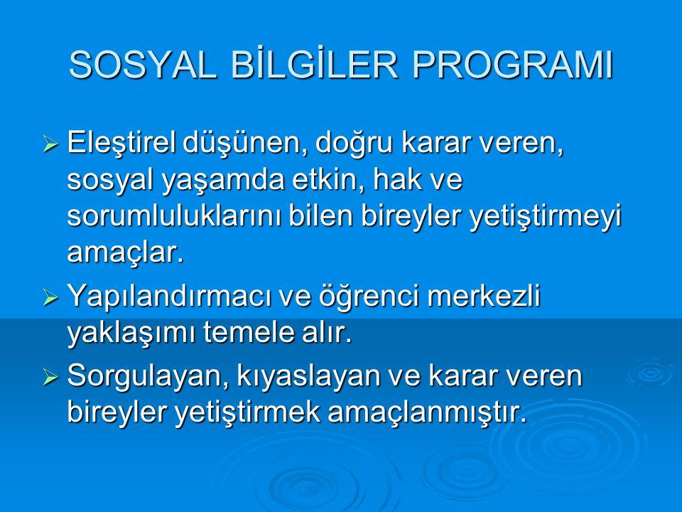 SOSYAL BİLGİLER PROGRAMI