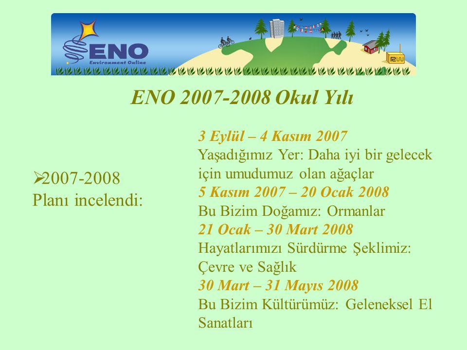 ENO 2007-2008 Okul Yılı 2007-2008 Planı incelendi: