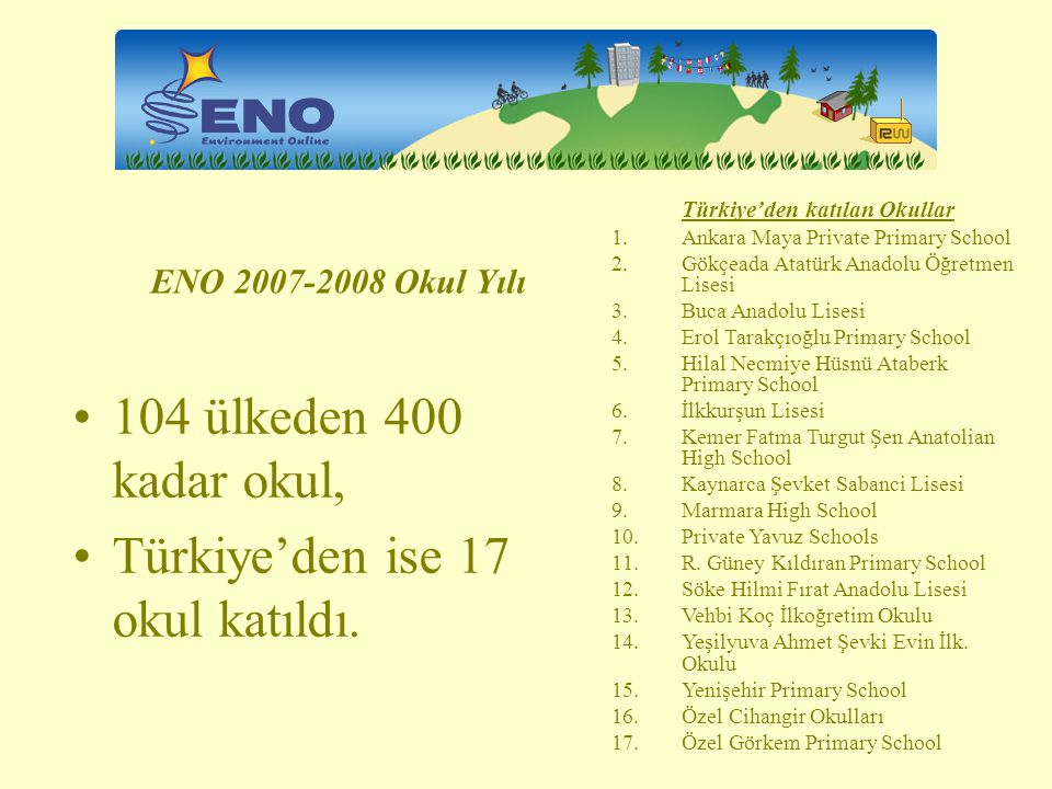 Türkiye'den ise 17 okul katıldı.