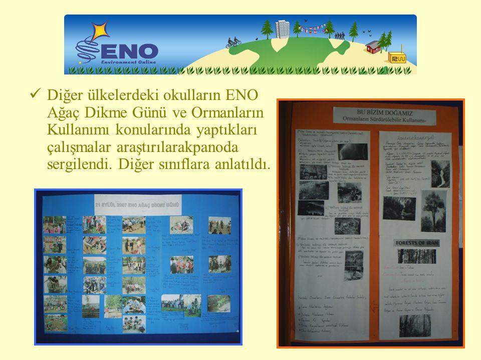 Diğer ülkelerdeki okulların ENO Ağaç Dikme Günü ve Ormanların Kullanımı konularında yaptıkları çalışmalar araştırılarakpanoda sergilendi.